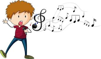 Doodle cartoon character of a singer boy singing with musical melody symbols vector