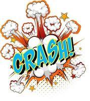 Word crash sobre fondo de explosión de nube cómica vector