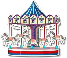 Sticker template with Carousel in cartoon style vector
