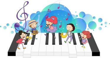 Electronic keyboard with many happy kids and melody symbols on blue splotch vector