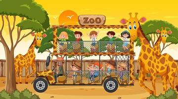 Safari at sunset time scene with many children watching giraffe group vector
