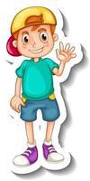 una plantilla de pegatina con un niño feliz en pose de pie vector
