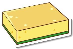 una plantilla de pegatina con esponja de plato aislada vector