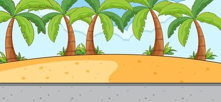 Empty scene with beach landscape and long street vector