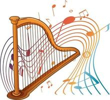 Harp musical instrument with melody symbols isolated vector