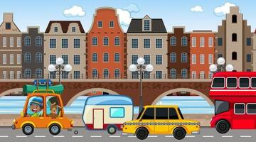 City background scene with many cars on the road vector