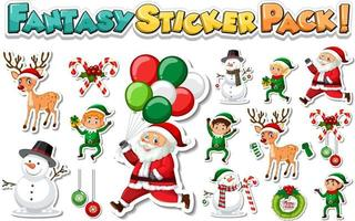 Sticker set with Santa Claus and Christmas objects vector