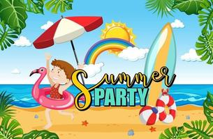 Tropical beach scene with Summer Party text banner vector