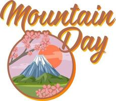 Mountain Day font with Mount Fuji isolated on white background vector