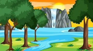 Nature forest landscape at night scene with waterfall vector
