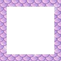 Blank pastel purple fish scales frame template vector