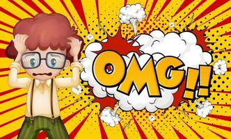 OMG word on explosion background with boy cartoon character vector