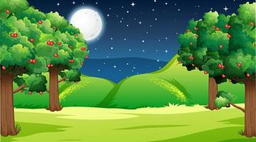 Blank nature park landscape at night scene vector