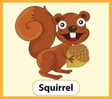 Educational English word card of Squirrel vector