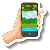 A sticker template with hand holding smart phone vector