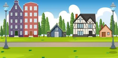 Suburban landscape with many houses vector