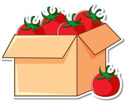 Sticker template with many tomatoes in a box vector