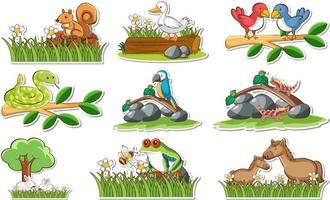 Sticker set with different wild animals and nature elements vector