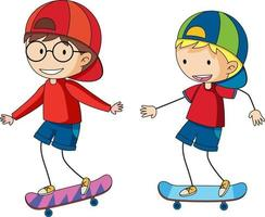 Two kids playing sketeboard cartoon character hand drawn doodle style isolated vector