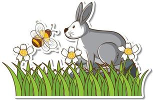 A hare with little bee in grass field sticker vector