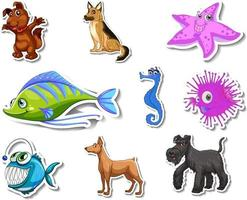 Set of stickers with sea animals and dogs cartoon character vector