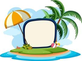 Empty banner template with summer beach element isolated vector