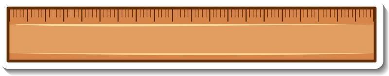 Wooden ruler sticker on white background vector