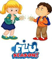 Flu Season font in cartoon style with two kids do not keep social distance isolated on white background vector