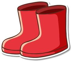 Sticker design with red boots footwear isolated vector