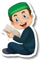 A sticker template with Muslim boy reading quran book vector