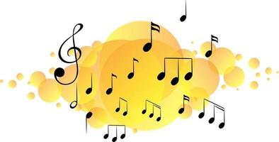 Musical melody symbols on yellow splotch vector
