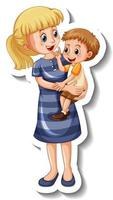 A sticker template with a mother holding her son vector