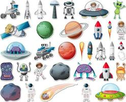 Set of stickers with Solar system objects isolated vector