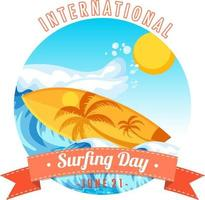 International Surfing Day banner with surfboard on water wave isolated vector