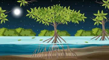 Mangrove forest landscape scene at night with many different animals vector
