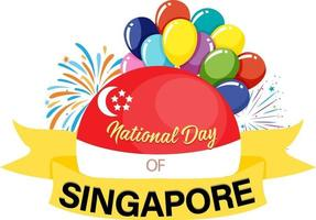 National Day of Singapore banner with fireworks and balloon elements vector