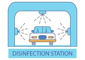Disinfection tunnel. Sanitizing station or services. Sanitation tunnel for vehicle. Clean surfaces in a car. Cleaning and washing vehicle. Carwash icon. Automotive Cleaning vector