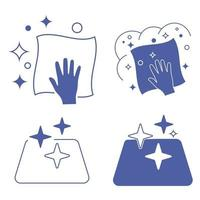 Sanitizing surfaces. Cleaning napkin. Cleaning surface or disinfection surface. Easy disinfection of objects or premises. Blue color icons. Sanitation and hygiene sign. Wet napkin or cloth vector