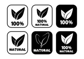 100 percent natural round badges. Set of round stamps with leaves inside for product with natural ingredients. Healthy foods icons. Plant circle label. Vector