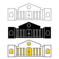 icono de edificio de museo o banco. arquitectura de la ciudad, público, edificio gubernamental. símbolo del museo de arte. construcción de iconos en estilo de contorno o glifo. vector