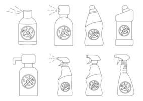 botellas de desinfectante de manos. Botellas de productos químicos domésticos. detergente líquido o jabón, quitamanchas, blanqueador para ropa, limpiador de inodoros. recipientes desinfectantes con líquido antibacteriano vector