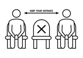 Do not sit here. Forbidden icon for seat. Social distancing, physical distancing sitting in a public chair, outline icon. Keep your distance. Vector