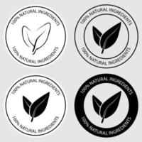 100 percent natural round icons. Set of round stamps with leaves inside for product with natural ingredients. Healthy foods badges. Plant circle label. Vector illustration