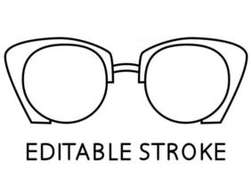 Black glasses rim. Sunglasses outline vector illustration. Modern style glasses rim silhouette. Stylish male and female optical accessories. Editable stroke. Vector