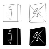 interruptores eléctricos de pared. Apague en estilo glifo, firme para concepto móvil y diseño web. interruptores realistas, iconos vectoriales de contorno. símbolo, ilustración del logotipo. vector