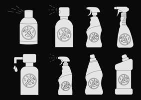 botellas de desinfectante de manos. Botellas de productos químicos domésticos. detergente líquido o jabón, quitamanchas, blanqueador para ropa, limpiador de inodoros. Recipiente desinfectante con bomba dosificadora. vector
