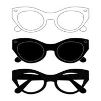 Black sunglasses set. Flat sunglasses symbol on white background. Modern style glasses rim silhouette. Stylish male and female optical accessories. Shade icons. Vector