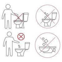 no tire basura en el inodoro. inodoro sin basura. mantener la limpieza. Por favor, no tire toallas de papel, productos sanitarios ni iconos. iconos de prohibición. no tirar basura, símbolo de advertencia. prohibido icono vector