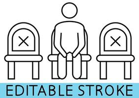 Do not sit here. Signage for restaurants and public places or transport. Keep your distance when you are sitting. Editable stroke. Man on the chair. Keep your distance. Vector