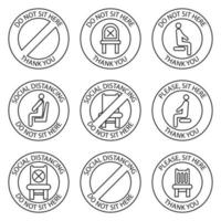 Do not sit, signs. Forbidden icons for seat. Safe social distancing when sitting in a public chair, outline icons. Lockdown rule. Keep your distance when you are sitting. Forbidden chair vector